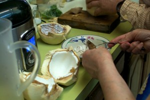 how to cut open young coconut