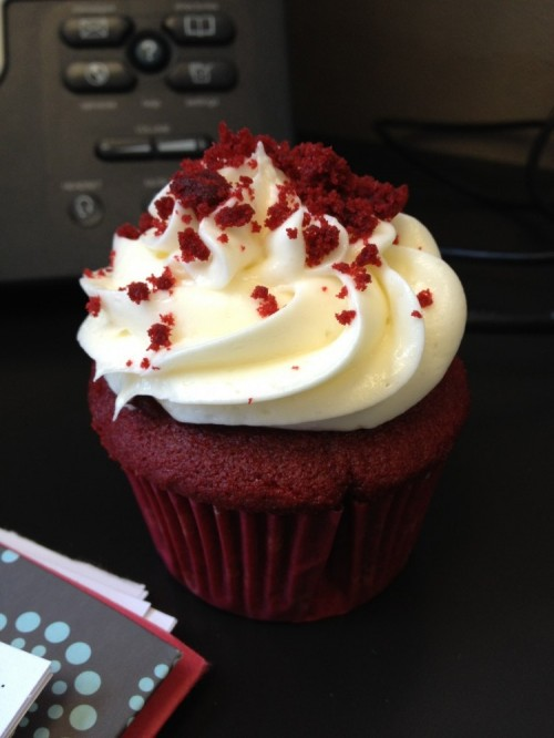 Velvet cupcake from Polkadot Bakery in Addison, TX